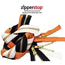 ZipperStop Distributor YKK® -Zipper Assortments Halloween YKK® #5 Brass Separating - 3 Colors Black, White and Orange Made in USA (Length 30 Inches)