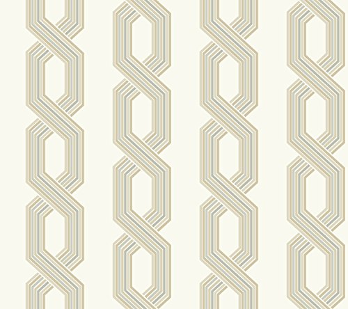 Beige Geometric Wallpaper - York Wallcoverings GE3609 Ashford Geometrics Retro Links Wallpaper, Variations Of Beige/Grey On White