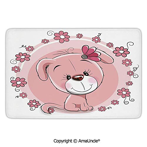 Customized Modern Door Mats,Dog,Cute Little Puppy with Daisy Flowers Cheerful Adorable Pet Girls Room Decor,Light Pink Coral White Pattern,L15.7xW23.6 Inches,for Indoor and Outdoor Area Rug,Short Plu