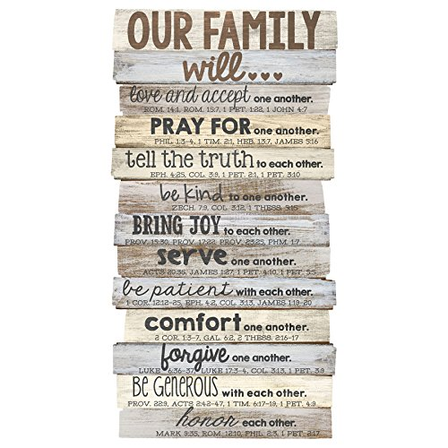 Lighthouse Christian Products Our Family Will Medium Wall Decor, 8 1/2 x 16 1/2