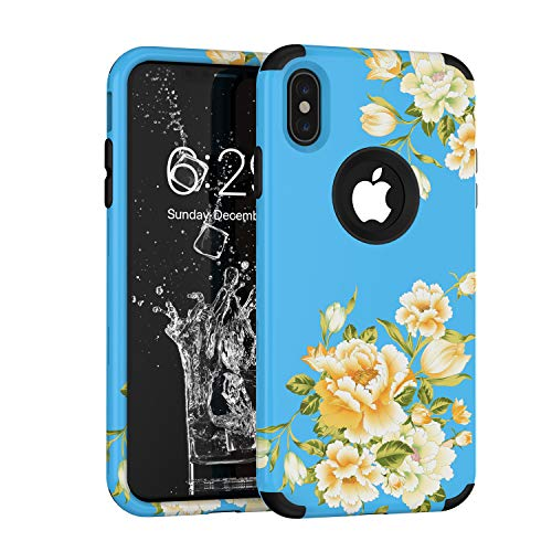 iPhone Xs Max Case, Yoomer 3 in 1 Unique Cute Flower Design Shockproof Hybrid Sturdy Armor High Impact?Defender Case Silicone Rubber Skin Hard Back Cover Combo Bumper Case for iPhone Xs Max 6.5