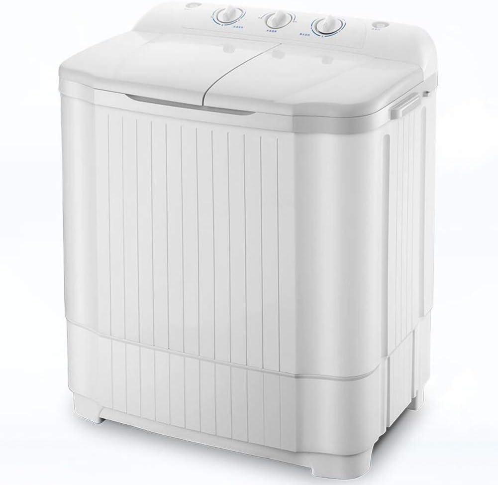 LSYOA Lavadora, Semi-automáticos Doble Tina Centrifugadora 13lbs Lavado Capacidad Lavadora Carga Frontal, Multifuncional Durable El Ahorro de energía Lavadoras,White