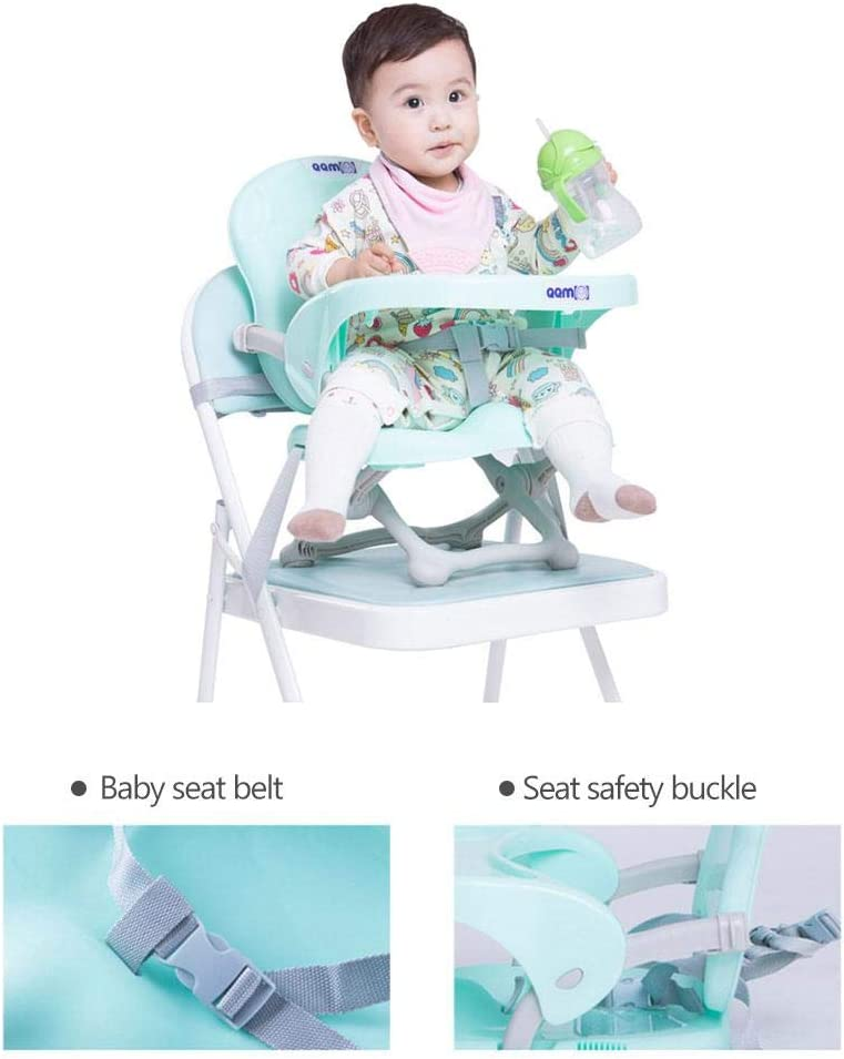 Beach Lawn Folding Portable High Chair for Eating Telisii Travel Booster Seat with Tray for Baby Tip-Free Design Straps to Kitchen Chairs Go-Anywhere High Chair Grandmas Camping