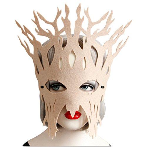 ACE SHOCK Tree Costume Mask for Women Cute, Halloween Masquerade Funny Eye Masks Black Beige Brown (Beige) -
