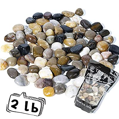 OUPENG Pebbles Decorative Polished Gravel -Natural Polished Mixed Color Stones, Small Decorative River Rock Stones