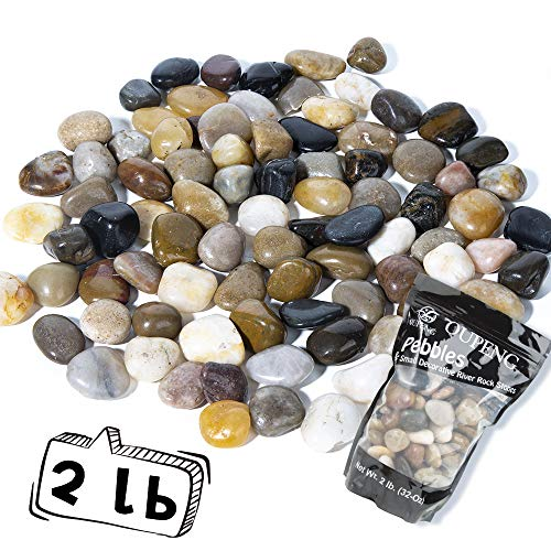 OUPENG Pebbles 2 Pounds Polished Gravel, Natural Polished Mixed Color Stones, Small Decorative River Rock Stones (32-Oz) (Garden Planters Stone)