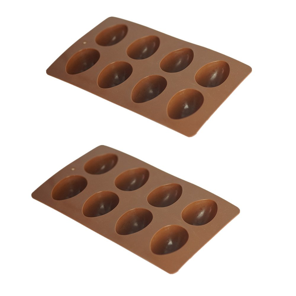 Mirenlife 8-Cavity Egg Shape Non Stick Silicone Mold for Chocolate, Pastry, Cake, Muffin, Bread, Big Ice Cube, Soap, and More, Set of 2