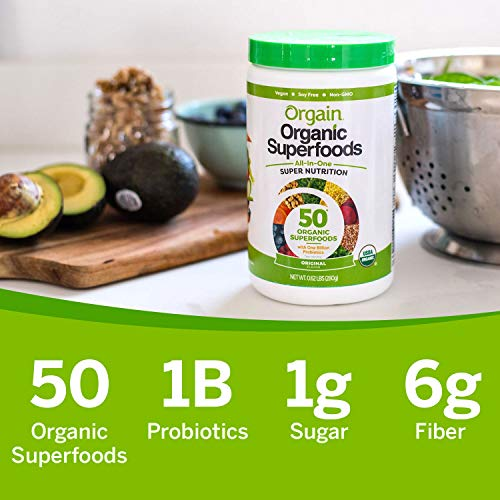 Orgain Organic Green Superfoods Powder, Original - Antioxidants, 1 Billion Probiotics, Vegan, Dairy Free, Gluten Free, Kosher, Non-GMO, 0.62 Pound (Packaging May Vary) by Orgain (Image #7)