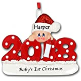 2018 Baby's First 1st Christmas Hanging Ornament Red with Polka Dots and Glittered Santa Claus Stocking Hat for Baby Boy or Baby Girl with Free Name Personalization