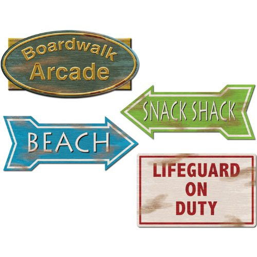 - Beistle Company 30173 Beach Sign Cutouts 4 count
