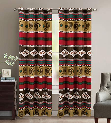 (Rustic Western Southwestern Native American Window Curtain Drapes Set with Thermal Insulation and Grommets in Brown Beige and Burgundy - Mojave Thermal Curtain Set)