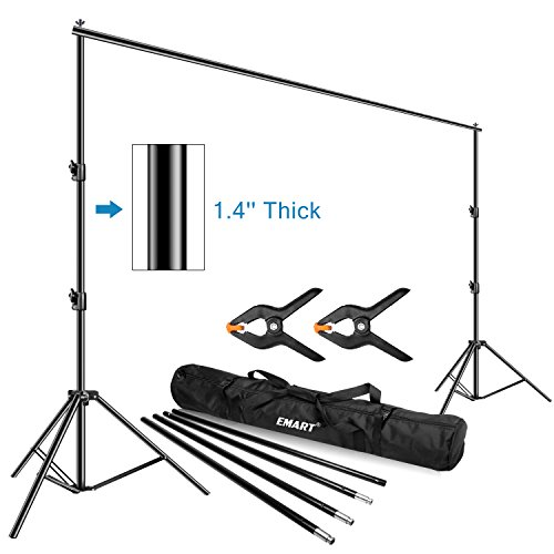 Emart Photo Video Studio Backdrop Stand, 10 x 12ft Heavy Duty Adjustable Photography Muslin Background Support System Kit (10' Zipper)