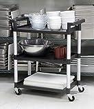 MaxWorks 80774 3-Shelf Utility Plastic Cart with