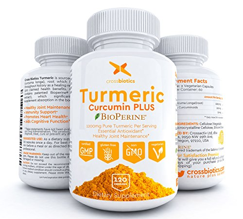Crossbiotics Turmeric Curcumin + Bioperine - 2 MONTH Supply - 120 Capsules! Gelatin Free 1200mg Antioxidant, Anti-Inflammatory, Joint, Heart Health, 95% Curcuminoids + Black Pepper - All Natural!