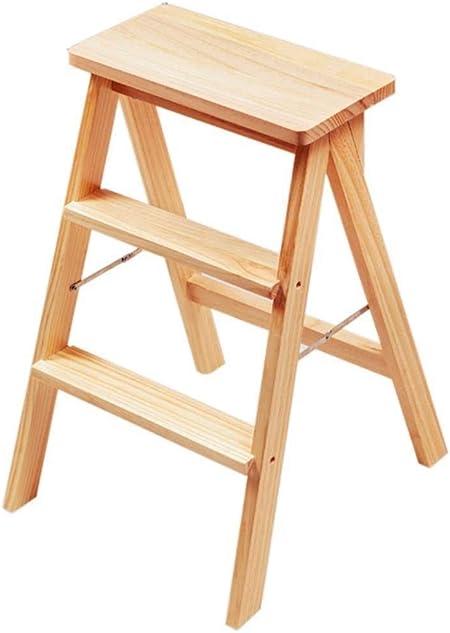 ChenXiDian-Super fuerte Escalera de madera Silla alta Escalera de madera Escalera Estantería Escalera de tijera Madera maciza ensanchada Multifunción Seguridad Estantería plegable Moderna Altura simpl: Amazon.es: Hogar