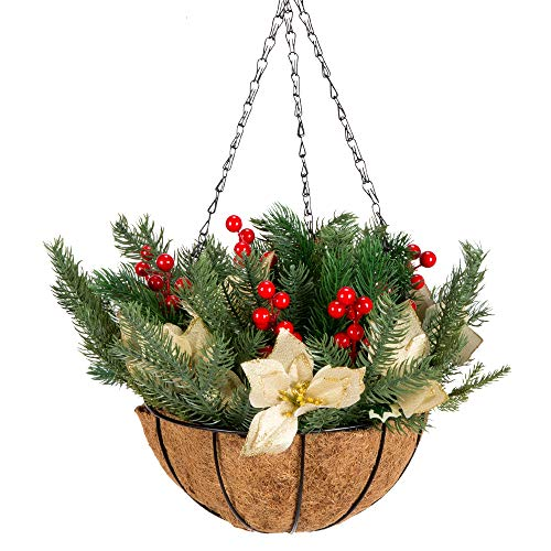 Flower Baskets Outdoor (IBEUTES 10 Inch Outdoor Christmas Hanging Baskets, Frosted Berry Hanging Basket Red Berries)