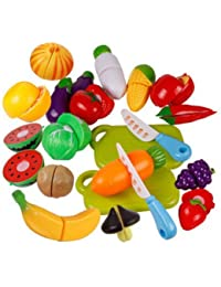 Win 6 pcs Fruit Role Play Fruit Vegetable Food Cutting Set Reusable Pretend Kitchen offer