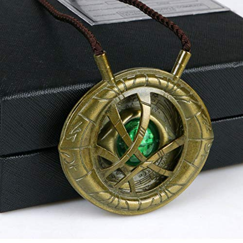 COMShow Dr.Strange Necklace LED Light up Eye of Agamotto 1:1 Scale Metal Movie Prop Replica Gift for Birthday Halloween Costume -