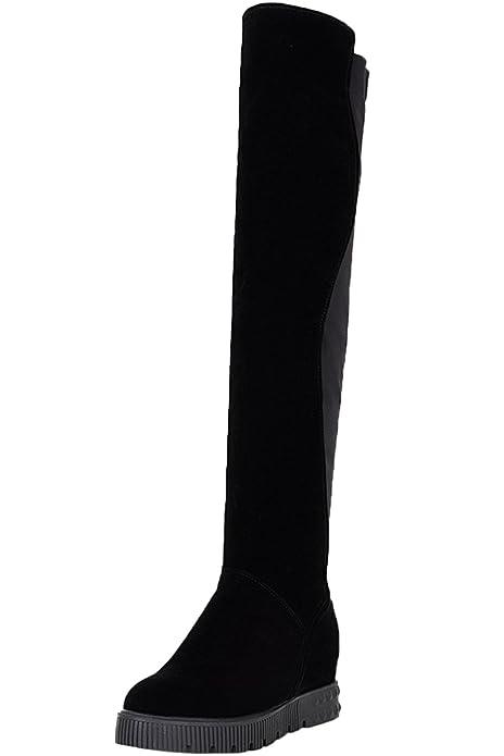 2bdef88a Sobre la rodilla botas Mujer Negro Casual Aumento Otoño Invierno Caliente  Cuña Elasticas Botas altas largas De BIGTREE: Amazon.es: Zapatos y  complementos