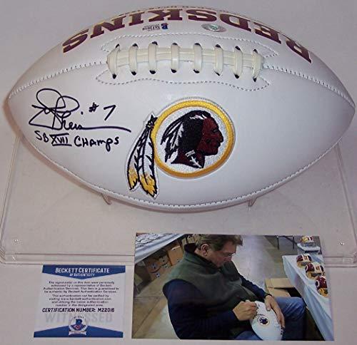 Joe Theismann Autographed Hand Signed Washington Redskins Full Size Logo Football - with SB XVII Champs Inscription - BAS Beckett Authentication