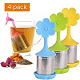 House Again 4-pack Extra Fine Mesh Tea Infuser with Drip Tray - 18/8 Stainless Steel Fine Mesh Tea Cup with BPA-Free Silicone Lid - Perfect Tea Balls Tea Strainers for All Types of Loose Leaf Tea
