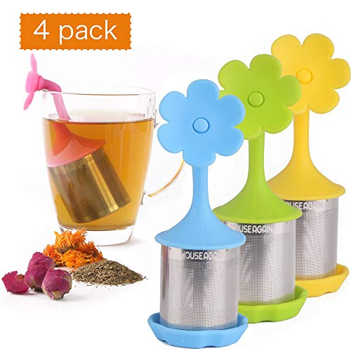 House Again 4-pack Extra Fine Mesh Tea Infuser with Drip Tray - 18/8 Stainless Steel Fine Mesh Tea Cup with BPA-Free Silicone Lid - Perfect Tea Balls Tea Strainers for All Types of Loose Leaf Tea by HOUSE AGAIN