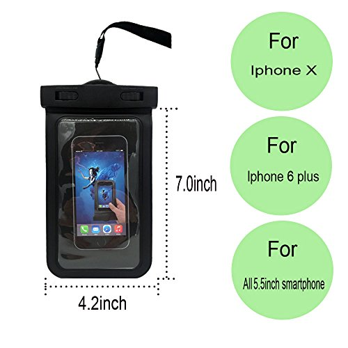 Universal Waterproof Case-IPX8 Waterproof Phone Pouch-Cell Phone Dry Bag for iPhone X, 8, 8 Plus, 7, 7plus, 6, 6s, 6s plus, Samsung Galaxy Note 8, S9, S8, S8 plus up to 6.2'' with cruise tag by Haoran (Image #2)