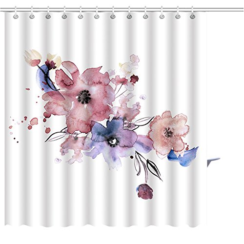 Shower Curtain cute watercolor hand painted flowers invitation wedding card birthday card Graphics Prints Bathroom Decor Set with Hooks Shower Curtain Liner 6672 - Painted Invitations Hand Wedding