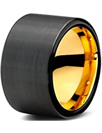 Tungsten Wedding Band Ring 12mm for Men Women Black & 18K Yellow Gold Pipe Cut Brushed Polished Lifetime Guarantee