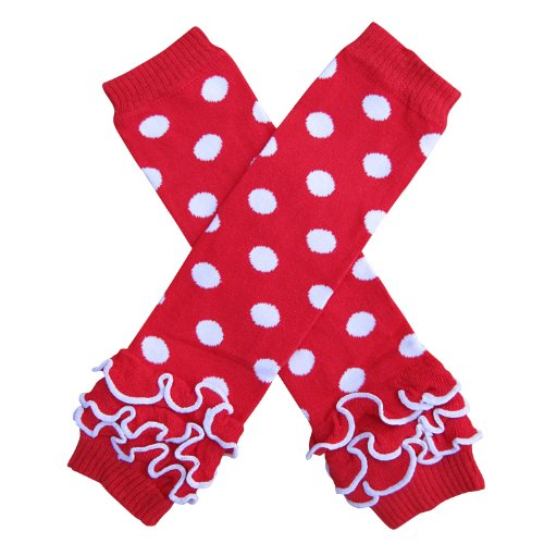 - Ruffle Polka Dot Leg Warmers - One Size - Baby, Toddler, Little Girls (Ruffle Dot Red with White)