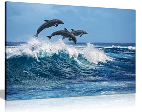 Dolphins Jumping Over Blue Waves Ocean Wildlife Canvas Wall Art Picture Print 30x20in