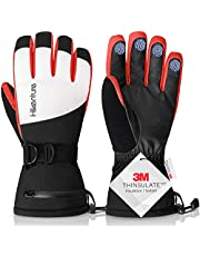 Hikenture Ski Gloves for Men Women-Waterproof Snow Gloves with 3M Thinsulate-Touchscreen Snowmobile Gloves with Zipper Pockets, Anti-Lost Buckle for Skiing, Snowboarding, Motorcycling, Climbing
