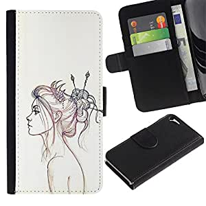 A-type (Pencil Sketch Drawing Art Fashion) Colorida Impresión Funda Cuero Monedero Caja Bolsa Cubierta Caja Piel Card Slots Para Apple iPhone 5 / iPhone 5S