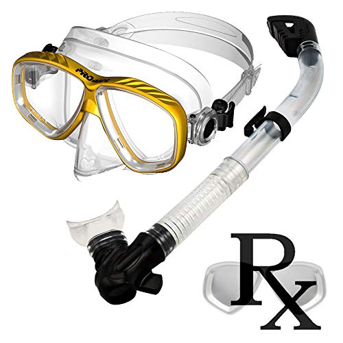 Prescription Purge Mask Dry Snorkel for Snorkeling Scuba Diving Combo Set, Gold