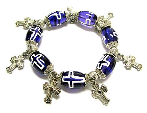 Linpeng Glass Bead Cross Charms Stretch Bracelet for Women, Blue