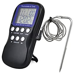 LCD Food Thermometer Timer Kitchen Digital Probe Thermometer Household Barbecue BBQ Meat Temperature Gauge Kitchen Cooking Tools Clock Alarm Sensor Kitchen Accessaries