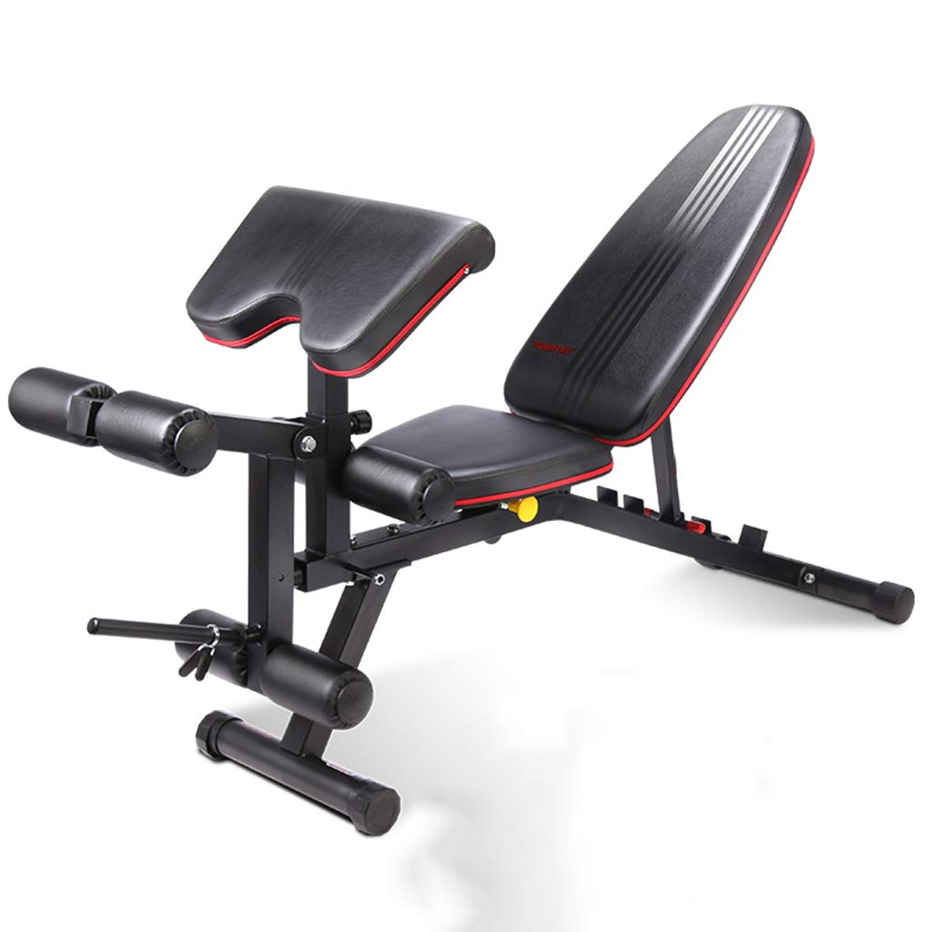 Folding Weight Table Dumbbell Bench Supine Board Fitness Chair Home Multi-Function Bench Press Abdomen Board Bird Stool Benches (Color : Black, ...