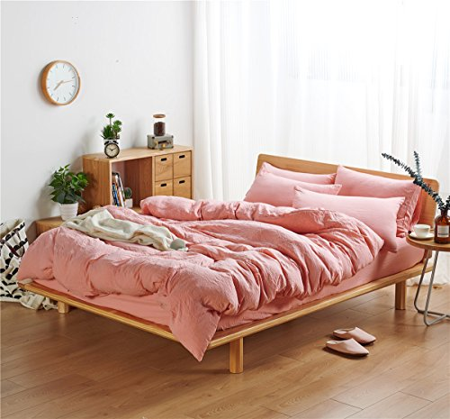 (Red Youth 3PCS 100% Polyester Washed-Cotton Fabric Duvet Cover Set, Ultra Soft and Easy Care, Anti-Fade and Anti-Shrink Water (Blush, Full/Queen))