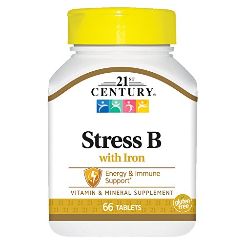21st Century Stress B with Iron Tablets, 66 Count (Pack of 2)