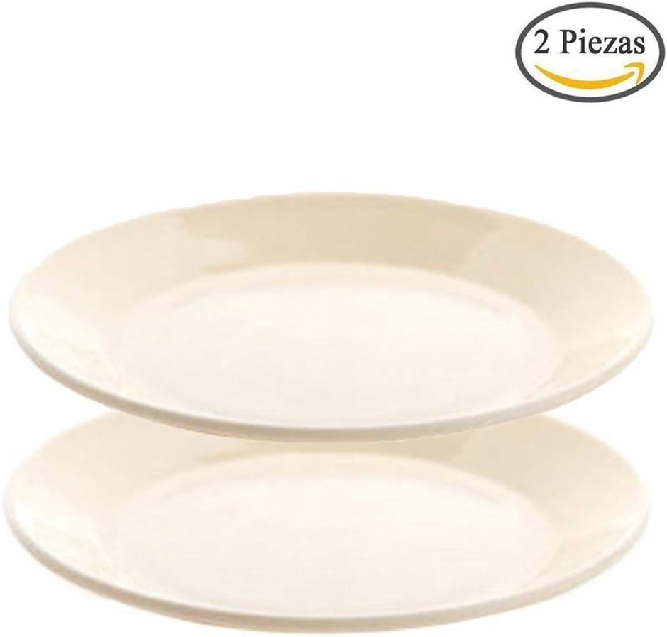 Kanggest 2Pcs Multicolor Redondo Plástico Platos Plano para la Bandeja del Bocado de la Fruta Placas de la Torta del Alimento de la Cocina Diámetro 13.4cm -Beige