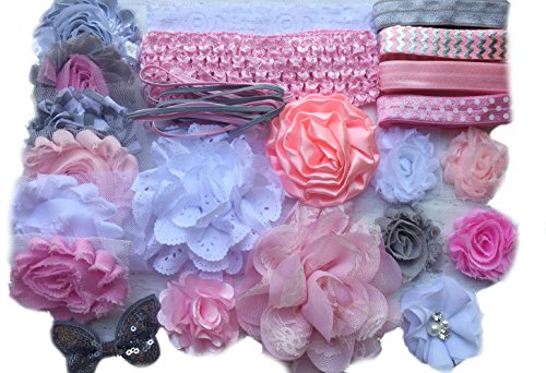 (Bowtique Emilee Mini Headband Kit Makes over 15 Headbands, DIY Baby Headband Kit -