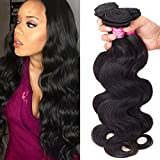 Brazilian Body Wave Virgin Hair 4 Bundles 18 20 22 24Size,Total:400g Remy Human Hair Weaves 100% Unprocessed Hair Extensions Natural Color (18 20 22 24Inch)
