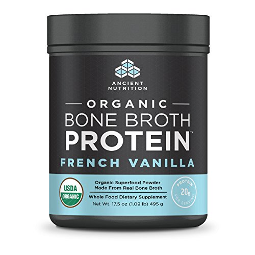 Ancient Nutrition Organic Bone Broth Protein Powder, French Vanilla Flavor, 17 Servings Size - Organic, Gut-Friendly, Paleo-Friendly