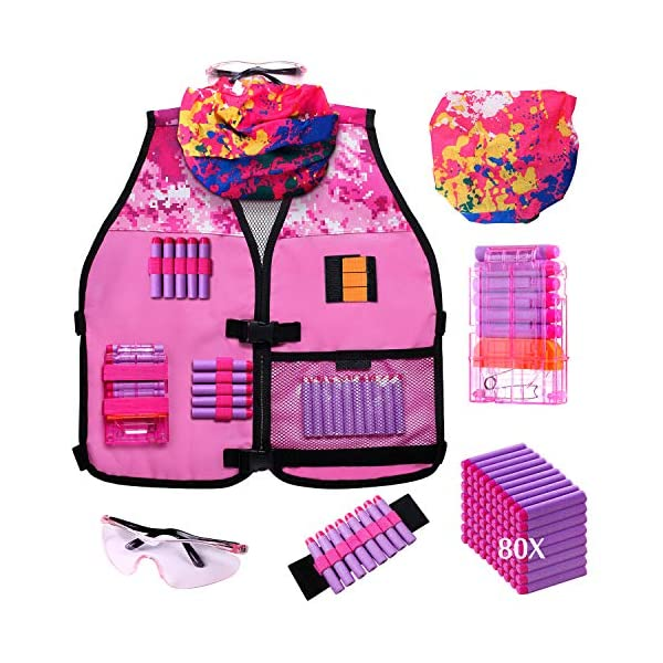 Hely-Cancy-Girls-Tactical-Vest-Kit-Compatible-with-Nerf-Guns-N-Strike-Elite-Series-with-Refill-Darts-Reload-Clips-Tactical-Mask-Wrist-Band-and-Protective-Glasses-for-Girls