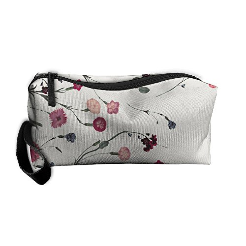 (YangQxio Carnation Flower Portable Cosmetic Makeup Bag Waterproof Makeup Cosmetic Brush Organizer Zipper Organizer Travel Set Tote Bag)
