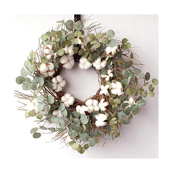 idyllic 20 Inches Round Wreath with Cotton, Spring and Summer Wreath for Farmhouse, Indoor Decor