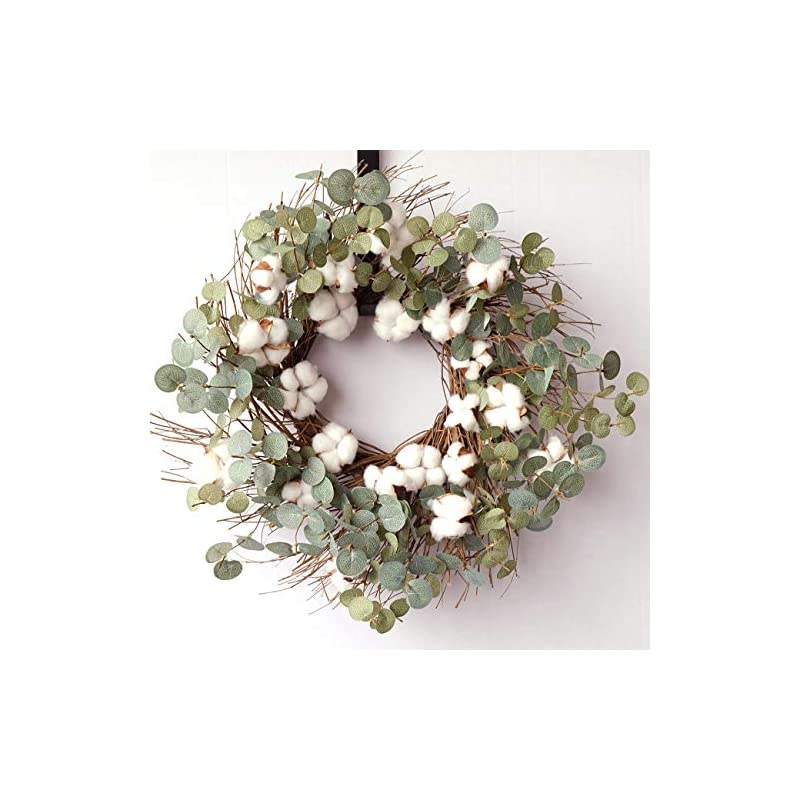 silk flower arrangements idyllic 20 inches round wreath with cotton, spring and summer wreath for farmhouse, indoor decor