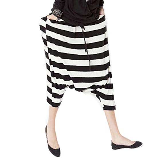 tidecc Womens Ladies Harem Pantalones Drop Low entrepierna rayas cord/ón cintura Loose Baggy Harem Pantalones Leggings