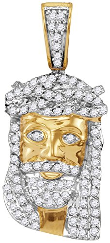 10kt Yellow Gold Mens Round Diamond Small Jesus Christ Messiah Head Charm Pendant 1/3 Cttw (I2-I3 clarity; J-K (Jesus Christ Head)
