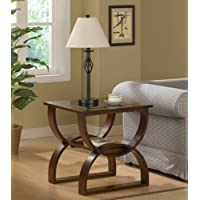 This tinted glass end table is truly a piece of art, featuring a unique curved wood design with walnut finish. The tinted glass top sits above a convenient shelf that can store books and more. This Accent Table is sure to add style to your living room.